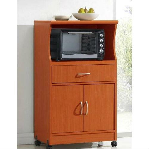 FastFurnishings Mahogany Wood Finish Kitchen Cabinet Microwave Cart