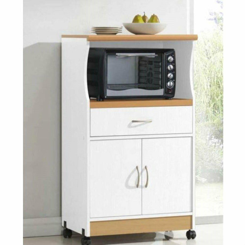 FastFurnishings White Kitchen Utility Cabinet Microwave Cart with Caster Wheels