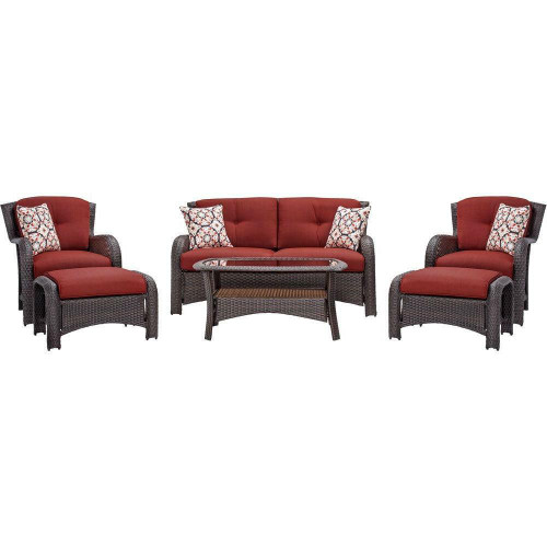 FastFurnishings Brown Resin Wicker 6-Piece Patio Furniture Lounge Set with Red Seat Cushions