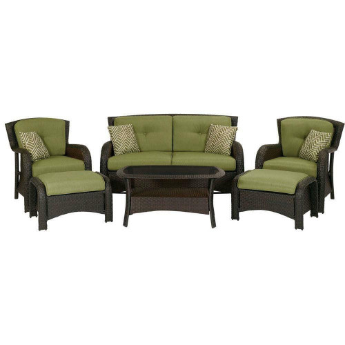 FastFurnishings Outdoor Resin Wicker 6-Piece Patio Furniture Set with Green Seat Cushions