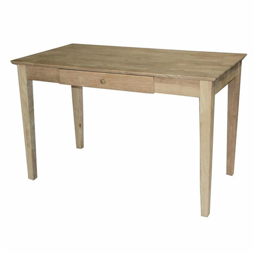 FastFurnishings Unfinished Solid Wood Desk Laptop Computer Writing Table with Drawer