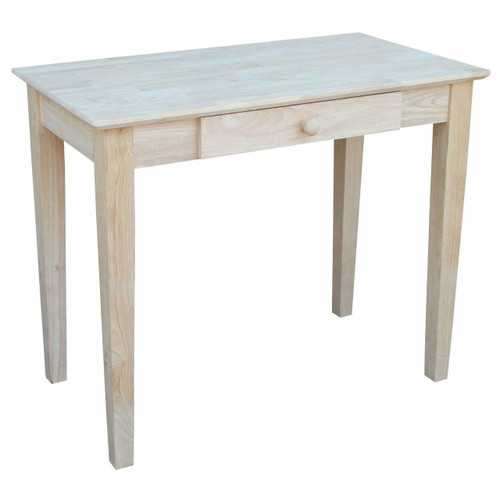FastFurnishings Solid Unfinished Wood Laptop Desk Writing Table with Drawer