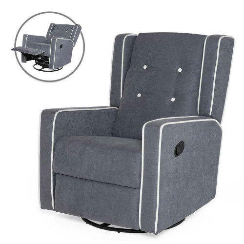 FastFurnishings Modern Gray Wingback Polyester Upholstered Swivel Recliner Rocking Chair