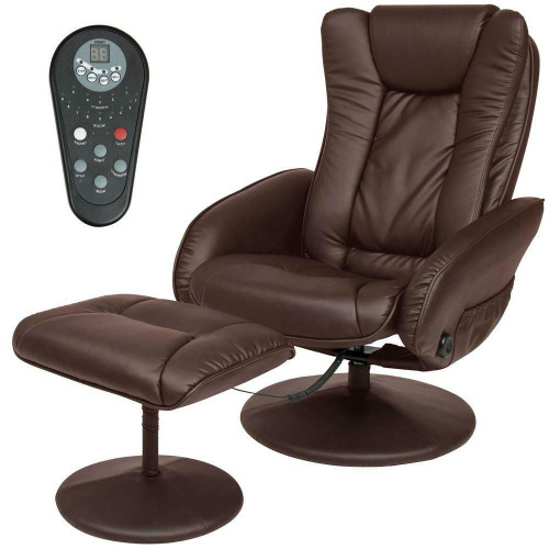 FastFurnishings Sturdy Brown Faux Leather Electric Massage Recliner Chair w/ Ottoman