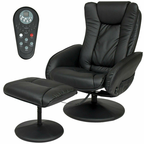 FastFurnishings Sturdy Black Faux Leather Electric Massage Recliner Chair w/ Ottoman