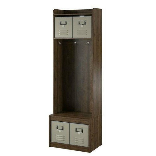 FastFurnishings Walnut Locker Coat Rack Entryway Hall Tree with 4 Storage Cubes