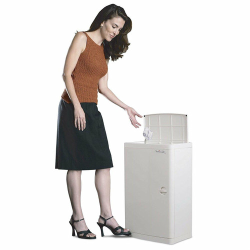 FastFurnishings No Hands 18-Gallon Kitchen Trash Can in White with Food Pedal Lid