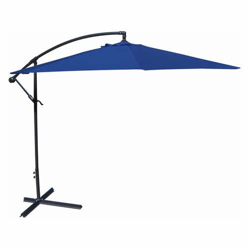 FastFurnishings 10-Ft Offset Cantilever Patio Umbrella with Royal Blue Canopy Shade