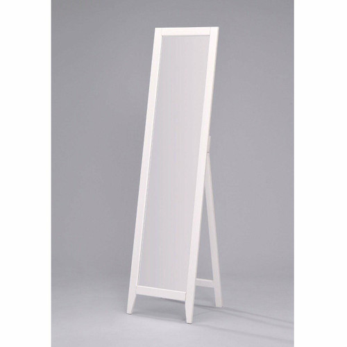 FastFurnishings Contemporary Bedroom Floor Mirror in White Wood Finish
