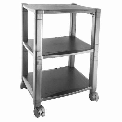 FastFurnishings 3-Shelf Mobile Printer Stand with Organizer Drawer in Black