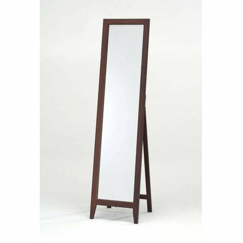 FastFurnishings Contemporary Solid Wood Floor Mirror in Walnut Finish