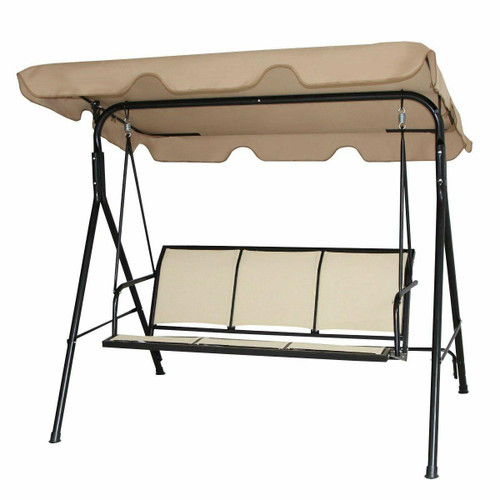 FastFurnishings Outdoor Porch Patio 3-Person Canopy Swing in Light Brown