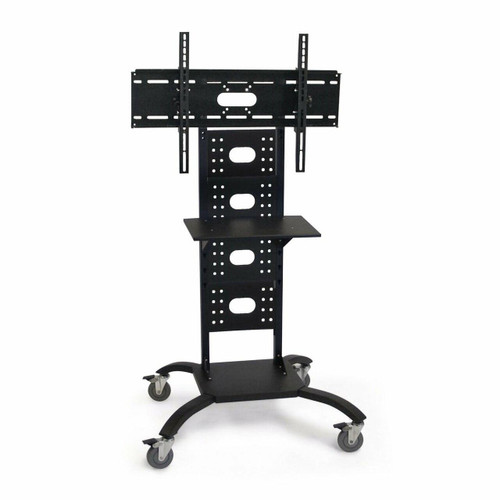 FastFurnishings Mobile Flat Screen TV Stand Cart with Shelf and Universal Mounting Bracket