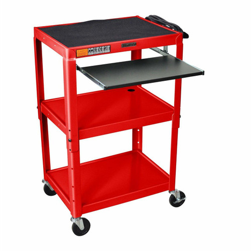 FastFurnishings Mobile Stand Up Computer Desk Workstation Cart in Red Steel