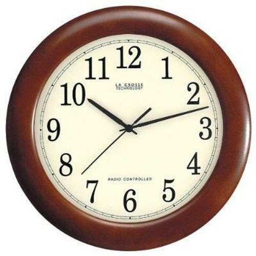 FastFurnishings 12.5-inch Atomic Analog Wall Clock with Wood Finish Frame