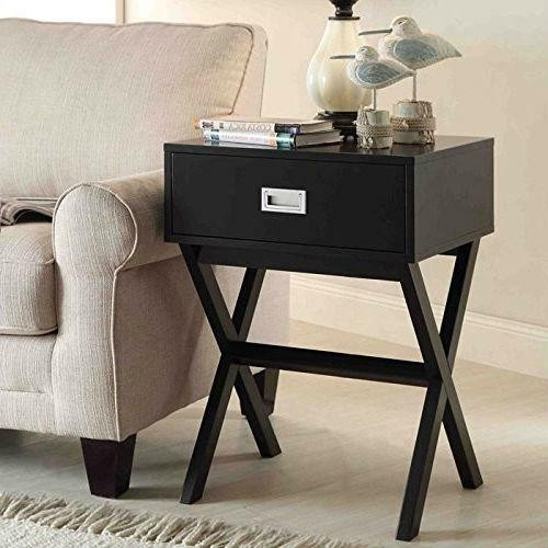 FastFurnishings Modern 1-Drawer Bedside Table Nightstand End Table in Black Wood Finish