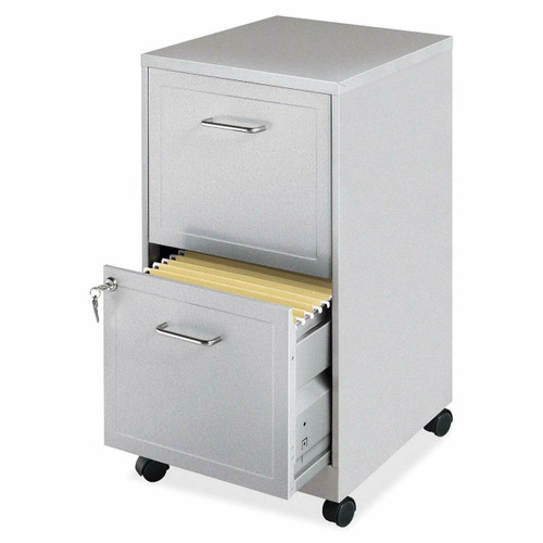 FastFurnishings Gray Silver Metal 2-Drawer File Cabinet with Casters