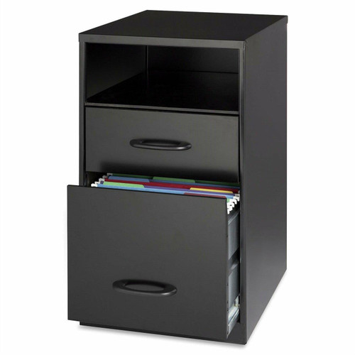 FastFurnishings Black Metal 2-Drawer Filing Cabinet with Office Storage Shelf