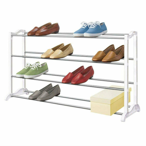 FastFurnishings 4-Tier Shoe Rack - Holds up to 20 Pair of Shoes
