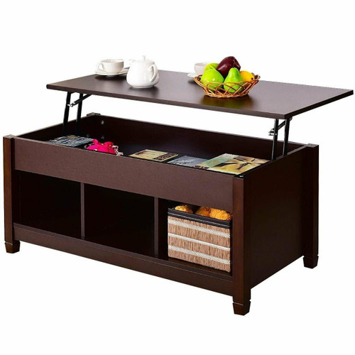 FastFurnishings Brown Wood Lift Top Coffee Table with Hidden Storage Space
