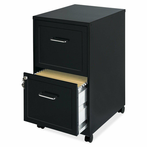 FastFurnishings Black Metal 2-Drawer Filing Cabinet with Rolling Casters / Wheels