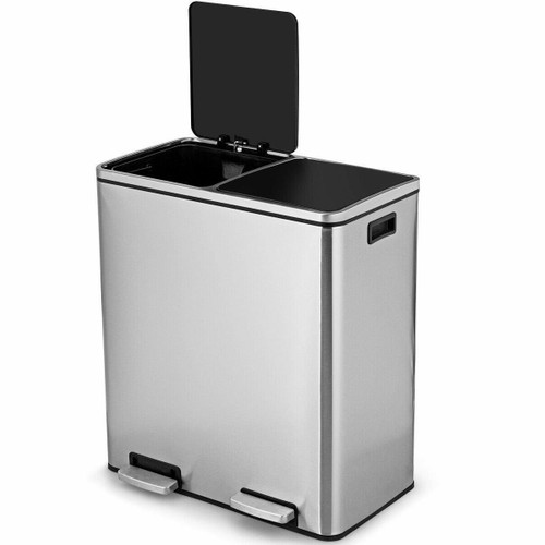 FastFurnishings Modern Dual Compartment 16-Gallon Trash Can Recycle Bin with Step Pedal Design