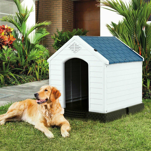 FastFurnishings Medium size Dog House Outdoor White Blue Plastic with Elevated Floor