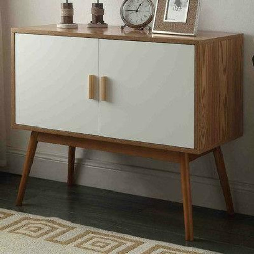 FastFurnishings Mid-Century Modern Console Table Storage Cabinet with Solid Wood Legs