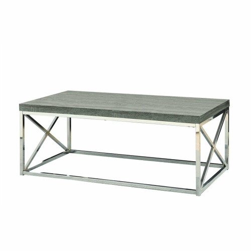 FastFurnishings Modern Coffee Table with Chrome Metal Frame and Dark Taupe Wood Top