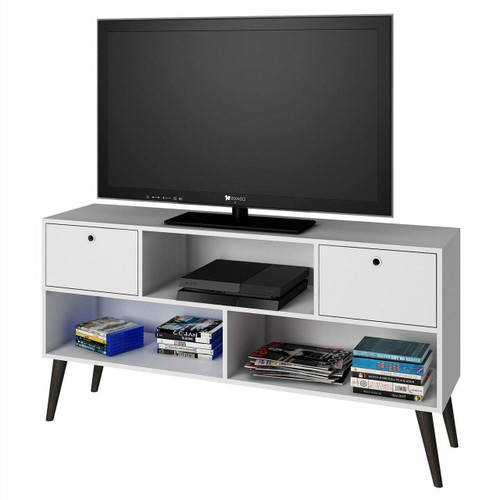 FastFurnishings Mid-Century Modern Entertainment Center TV Stand in White Grey Wood Finish