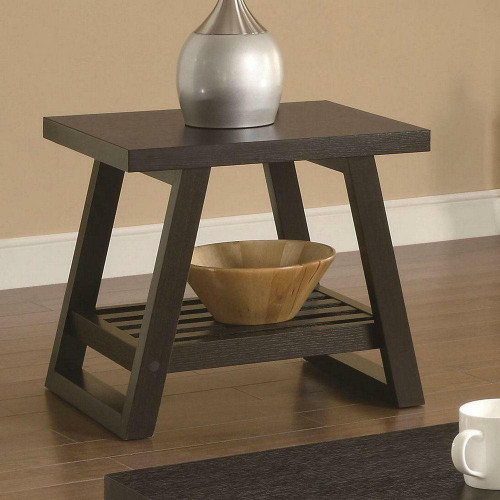 FastFurnishings Modern End Table in Dark Brown Cappuccino Finish