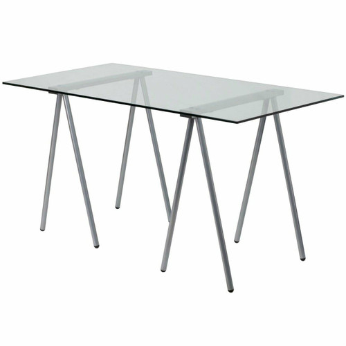 FastFurnishings Modern Clear Tempered Glass Top Writing Table Computer Desk with Metal Legs