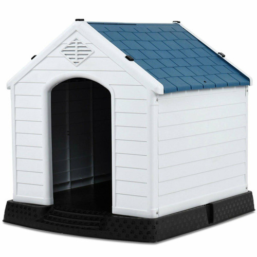 FastFurnishings Medium size Outdoor Heavy Duty Blue and White Plastic Dog House