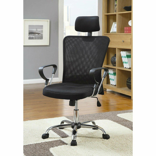 FastFurnishings High Back Executive Mesh Office Computer Chair with Headrest in Black
