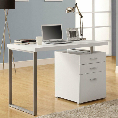 FastFurnishings Left or Right Facing Modern Office Desk in White Finish with File Drawers