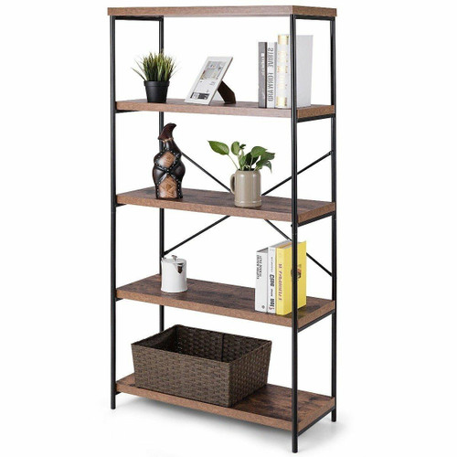 FastFurnishings Industrial Metal Wood 5-Tier Bookcase Storage Rack Book Shelf