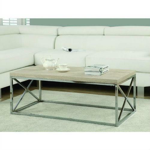 FastFurnishings Contemporary Chrome Metal Coffee Table with Natural Finish Wood Top