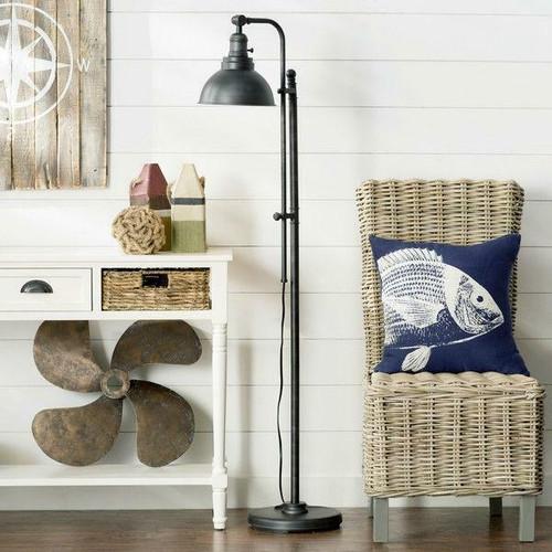 FastFurnishings 65-inch Tall Floor Lamp Task Light in Distressed Metal Finish