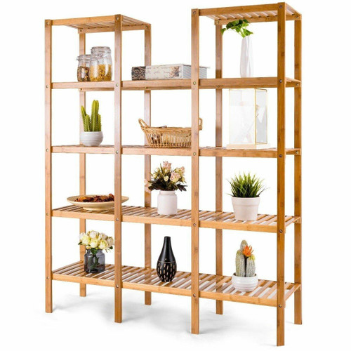 FastFurnishings Bamboo Wood 4-Shelf Bookcase Plant Stand Shelving Unit