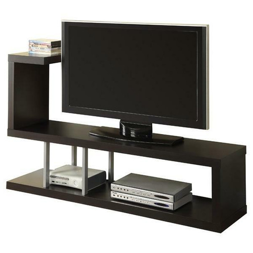 FastFurnishings Modern Entertainment Center TV Stand in Cappuccino Finish