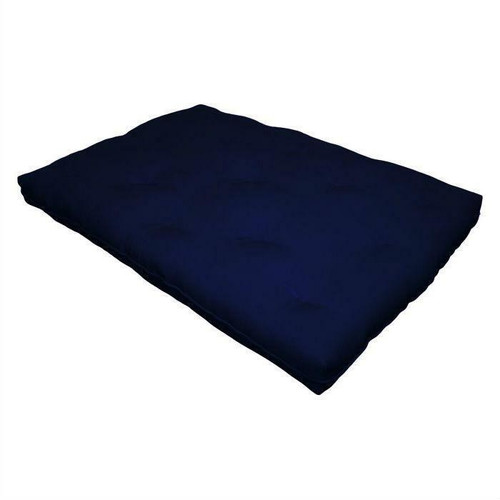 FastFurnishings Full size 8-inch Thick Cotton Poly Futon Mattress in Navy Blue