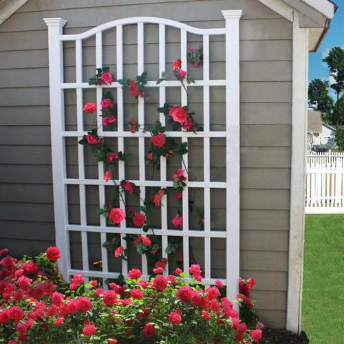 FastFurnishings 7.5 Ft Garden Trellis in White Vinyl with Arch Top
