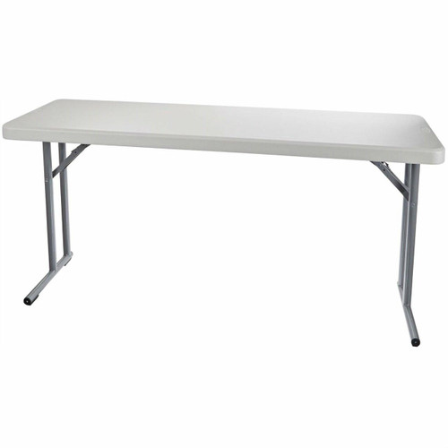 FastFurnishings Steel Frame Rectangular Folding Table with Speckled Gray Top