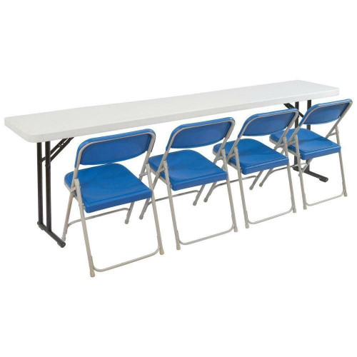 FastFurnishings Steel Frame 72-inch Rectangular Gray Plastic Top Folding Table