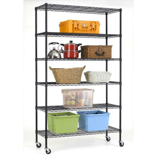 FastFurnishings Heavy Duty 6-Shelf Adjustable Metal Shelving Rack with Casters