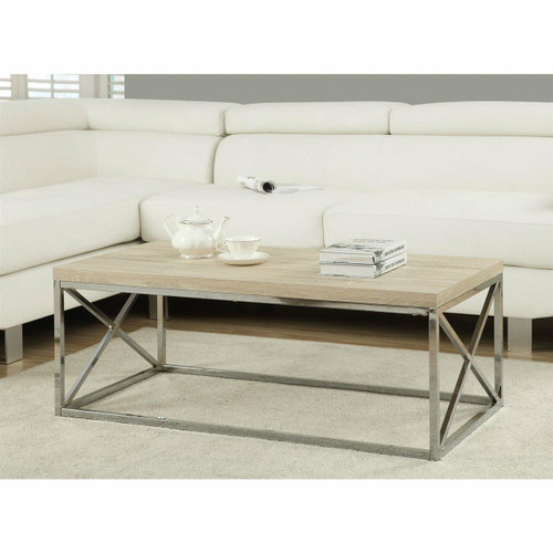 FastFurnishings Modern Rectangular Coffee Table with Natural Wood Top and Metal Legs