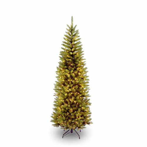 FastFurnishings 6.5 Foot Narrow Slim Fir Christmas Tree Pre-strug 250 Clear Lights and Stand