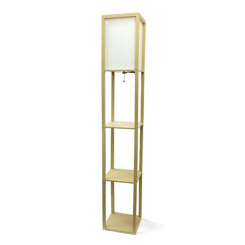 FastFurnishings Modern 63-inch Tall Asian Style Floor Lamp with Off-White Shade in Tan Finish