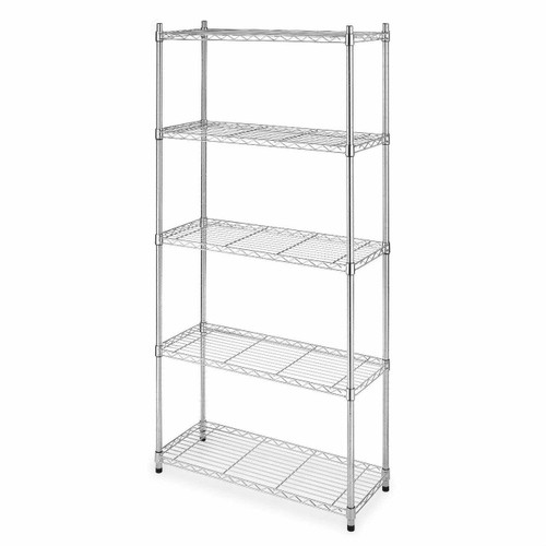 FastFurnishings Heavy Duty 5-Shelf Metal Storage Rack Shelving Unit