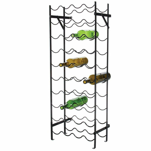 FastFurnishings Black Metal 40-Bottle Wine Rack with Wall Anchors